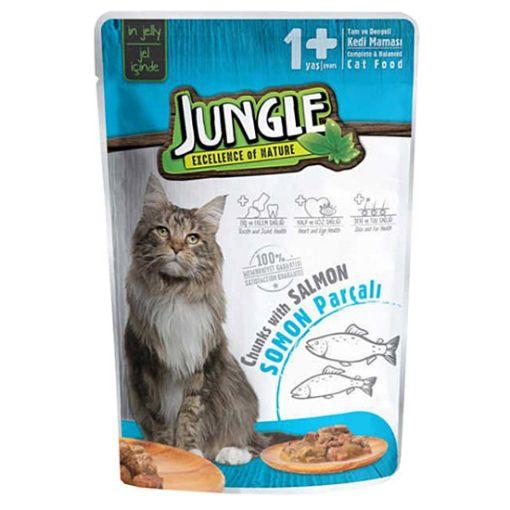 Jungle Pouch Jöleli Somon Balıklı Yaş Kedi Maması 100 Gr resmi