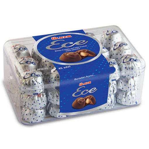 Ülker Ece Bütün Fındıklı Ve Fındık Kremalı Sütlü Çikolata 455 Gr resmi